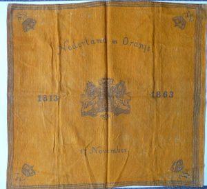 Het oudste doek in ons bezit is deze uit 1863 t.g.v 50 jaar Koninkrijk 1813-1863