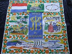 doek gemaakt voor het bezoek van Koningin Juliana & Prins Bernhard aan Suriname 1965