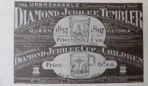 advertentie voor emaille bekers Diamanten jubileum Koningin Victoria 1897
