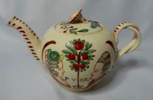 theepotje ca 1780 met Willem V en Wilhelmina van Pruisen