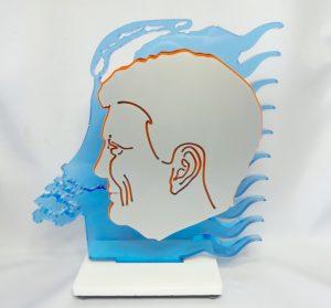 Officieel staatsie portret in 3D perspex van Koning Willem-Alexander. Gemaakt door Ad van Hassel in 2013 t.g.v de inhuldiging. (voorzijde)