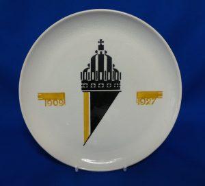 Bordje ontworpen voor de 18e verjaardag van prinses Juliana 1909-1927. Plateelfabriek Zuid-Holland.
