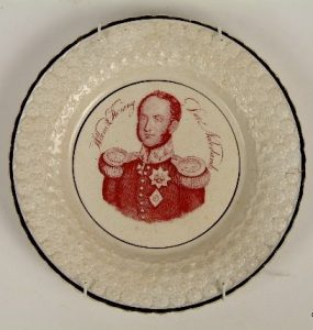 engels creamware bord met portret Koning Willem II