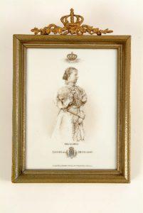 Tegel gemaakt in Duitsland door firma Krefeld Koningin Wilhelmina 1898.
