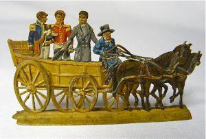Tinnen figuren van aankomst Koning Willem I en gevolg in Scheveningen 1813.