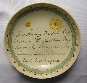Klein bordje met tekst gemaakt ca 1765 Stadhouder Willem V.