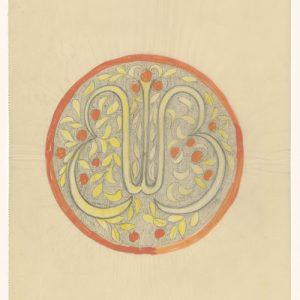 ontwerp tekening geschonken door zoon van Lion Cachet aan het Rijksmuseum