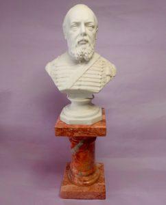 Porselein borstbeeld Koning Willem III ca 1874. Gemaakt door de Duitse fabriek Scheibe-Alsbach